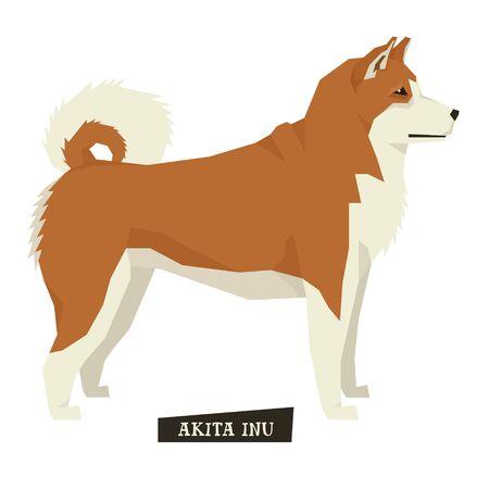 akita: Dog collection Akita Inu Geometric style set