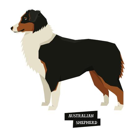 Colección de perros Conjunto de estilo geométrico de pastor australiano