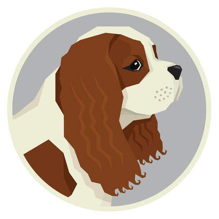 Dog collection Cavalier King Charles Spaniel Geometric style icon round set Illustration