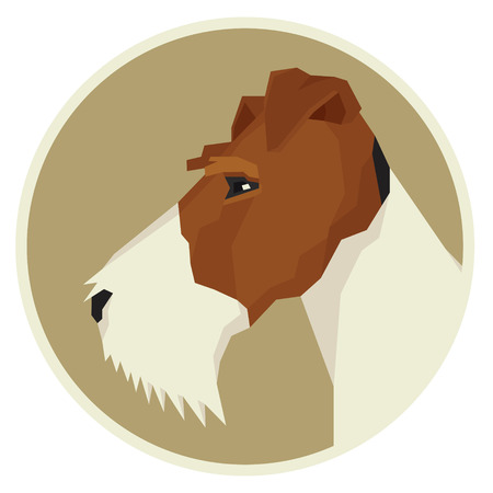 triangular eyes: Dog collection Fox Terrier Geometric style icon round set