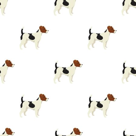 triangular eyes: Dog collection Jack Russell terrier Geometric style Seamless pattern set Illustration