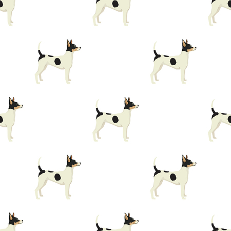 fox terrier: Dog collection Toy Fox Terrier Geometric style Seamless pattern set