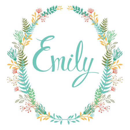 Frame of flowers and ferns with girl's name Emily Set