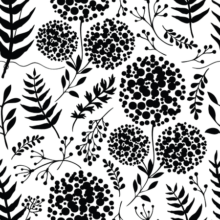modern garden: Abstract floral background Black and white color