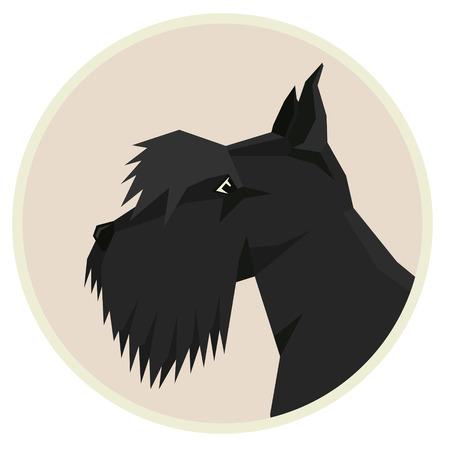 scottish terrier: Dog collection Scottish Terrier Geometric style icon round set Illustration