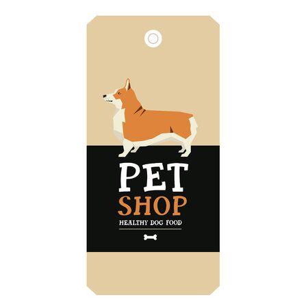 pembroke: Poster Pet Shop Design label Vector Illustration Pembroke Welsh Corgi set Illustration
