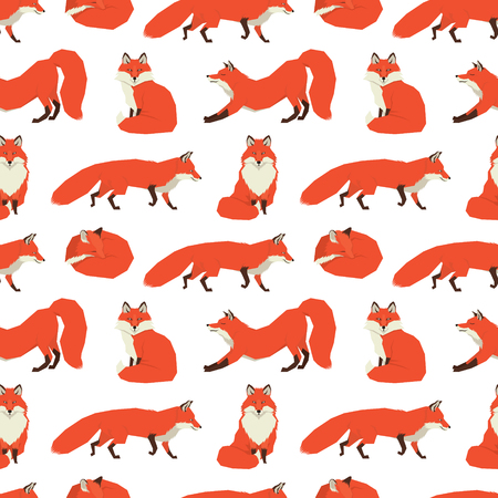 collection red: Wild animals collection Red Foxes Background set Illustration