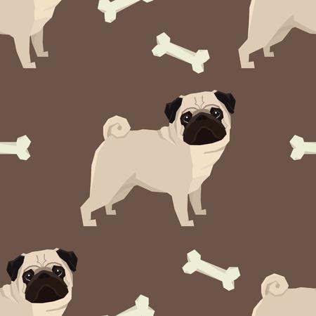 Hund Sammlung Mops Geometrischer Stil Nahtlose Muster Brown Hintergrund Standard-Bild - 73852954
