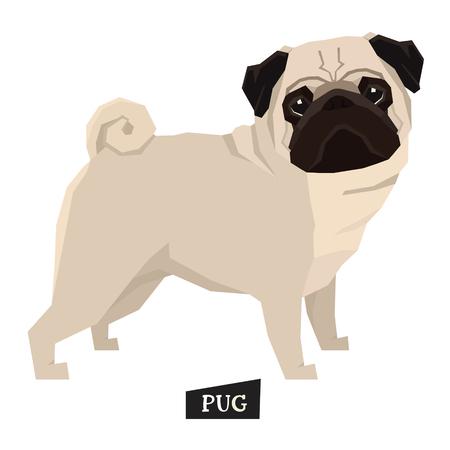 Hond verzameling Pug Geometrische stijlenset Stock Illustratie