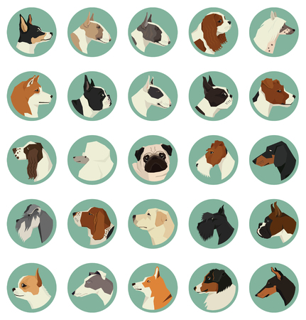 Dog breeds Avatars Vector set of 25 round frames Geometric style
