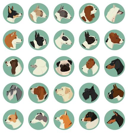 Dog breeds Avatars Vector set of 25 round frames Geometric style