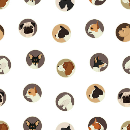 Dog collection Avatar icon round Seamless pattern set