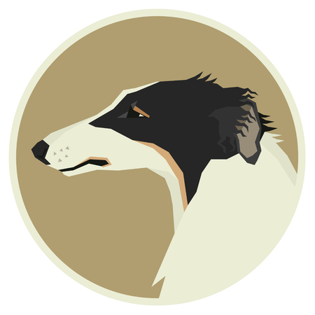 borzoi: Dog collection Borzoi Geometric style Avatar icon round set Illustration
