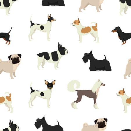 犬コレクション シームレス パターン セット  イラスト・ベクター素材