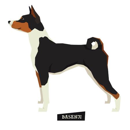 Dog collection Basenji Geometric style Isolated object set Illustration
