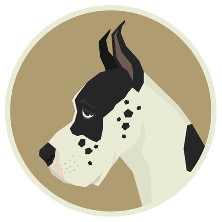 Dog collection Great Dane Geometric style Avatar icon round frame