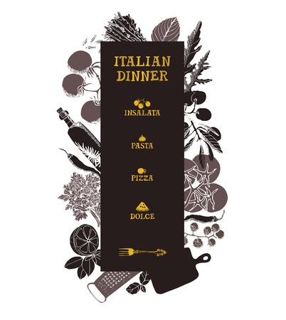 dinner menu: Italian dinner Menu Hand drawing illustration set