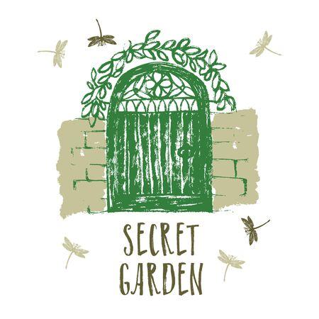 overgrown: Secret garden Design card Brush illustration set