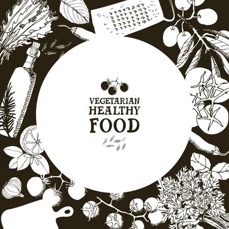 Vegetarian healthy food Design card Hand drawing illustration set