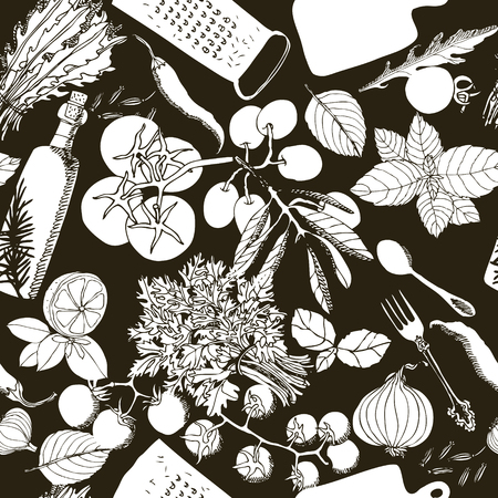 Vegetarian healthy food Hand drawing illustration Seamless pattern set