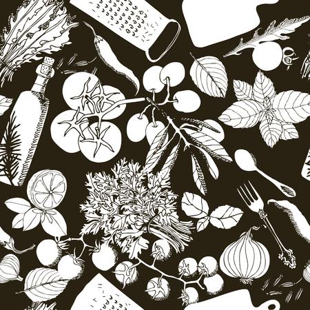 Vegetarian healthy food Hand drawing illustration Seamless pattern set