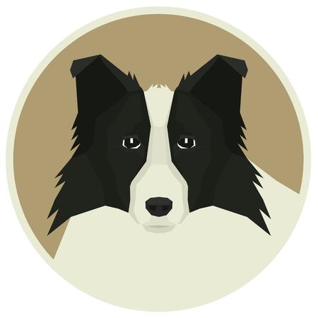 shepard: Dog collection Border Collie Geometric style Avatar icon round set