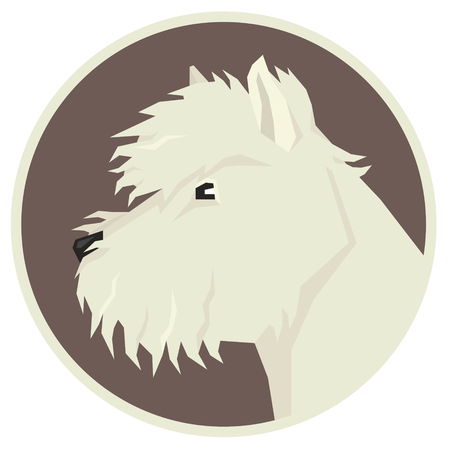 Dog collection West Highland White Terrier Geometric Avatar icon round.