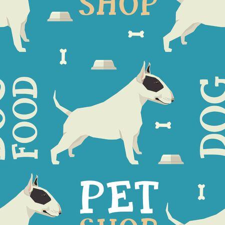 sociable: Pet shop Dog food seamless pattern Bull terrier set