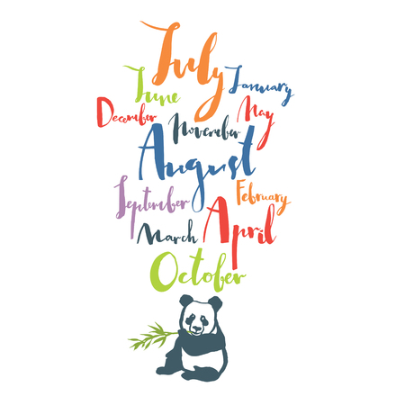 Panda font Handwritten calligraphy Months of year Black color Colorful set Poster Illustration