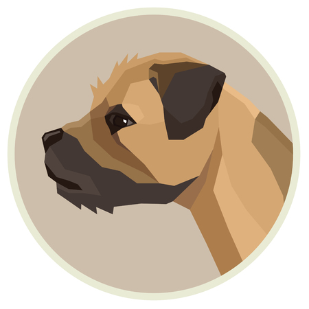 Dog collection Border Terrier Geometric style Avatar icon round Set