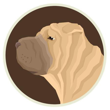 Dog collection Shar Pei Geometric style Avatar icon round set Illustration