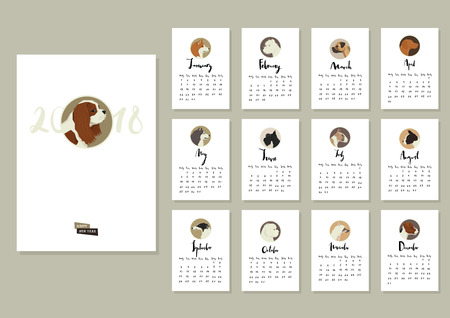 Calendar with twelve different dogs Cover with Cavalier King Charles Spaniel dog