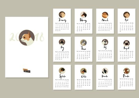Calendar with twelve different dogs Cover with Chihuahua dog
