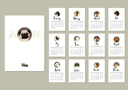 Calendar with twelve different dogs Cover with Pug dog