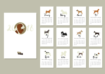 Dog collection Calendar Cover with Cavalier king charles spaniel and other dogs Months of the year Calligraphy set