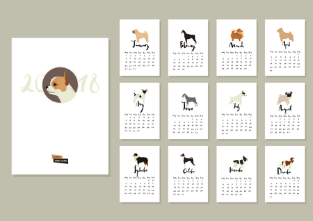 Dog collection Calendar 2018 Cover with Chihuahua Illustration