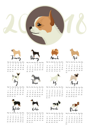 Dog collection Calendar with Chihuahua and other dogs Months of the year Calligraphy set
