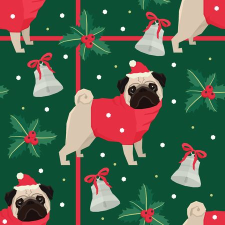 Merry Christmas Seamless pattern with the Pug dogs Green background