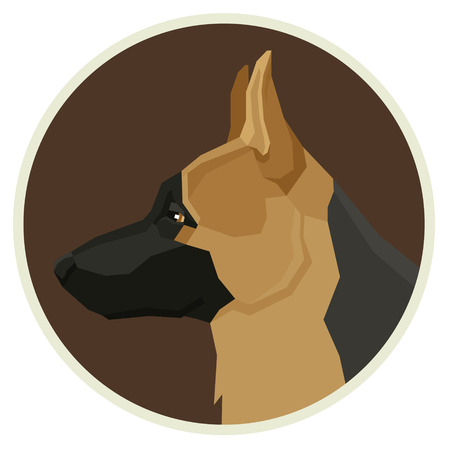 Dog collection German Shepherd dog Geometric style Avatar icon round