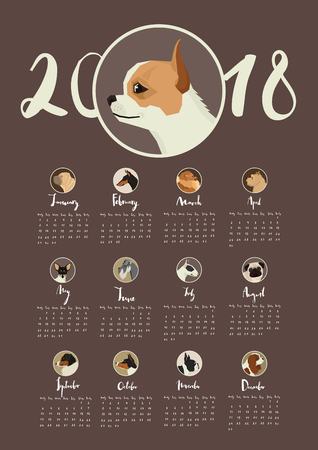 Calendar with portraits of dogs in round frames Dark background Chihuanua dog