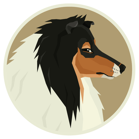 Dog collection Collie dog Geometric style Avatar icon round