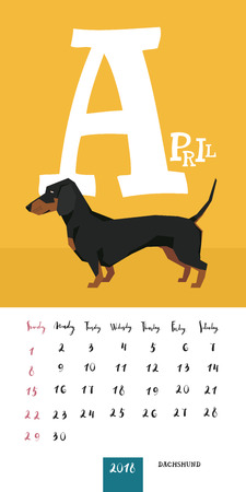 Vector calendar 2018 April Dachshund Geometric style