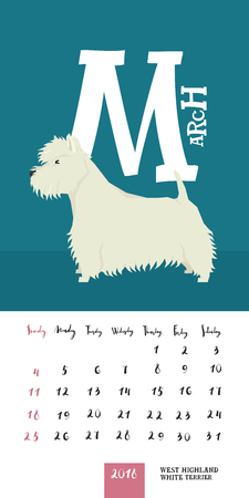 Vector calendar 2018 March West highland white terrier Geometric style