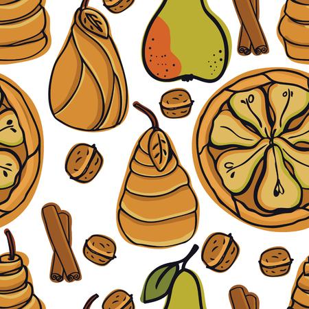 Fresh Bakery Delicious pear pie Seamless pattern set