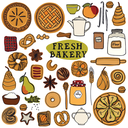 Fresh Bakery Set of isolated vector objects Colorful Tea party