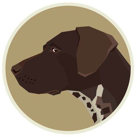 Dog collection German shorthaired pointer Geometric style Avatar icon round set