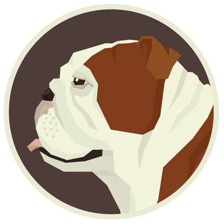 Colección de perros bulldog inglés Estilo geométrico Icono de avatar conjunto redondo Ilustración de vector