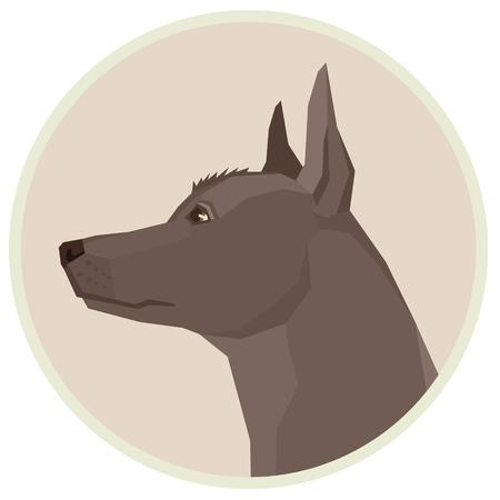 Dog collection Xoloitzcuintli Mexican Hairless Dog Geometric style Avatar icon round set Vetores
