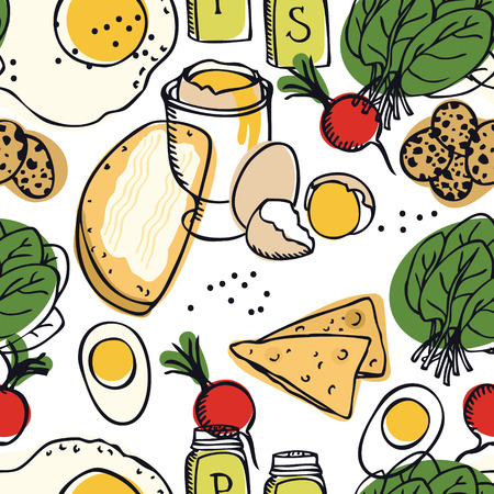 Food collection Delicious breakfast Eggs, spinach, radish and toasts Seamless pattern set Ilustração