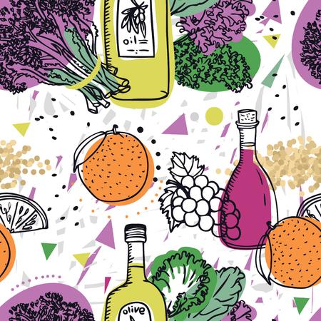 Colección de alimentos Brócoli morado con quinoa, aceite de oliva y naranjas Conjunto de patrones sin fisuras Ilustración de vector